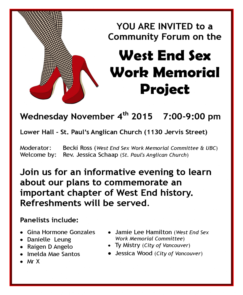 West End Sex Work Memorial Project Public Meeting